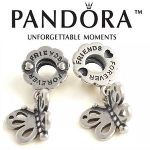 """Pandora Sterling Silver """"Friends Forever"""" Charm"""
